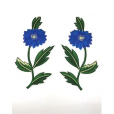 Embroidery blue flower patch