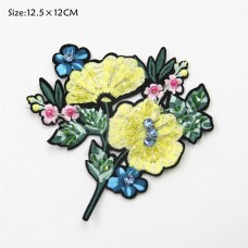 Embroidery rhinestone bead flower patch